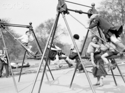 Children Play on a French Swing in St. James' Park