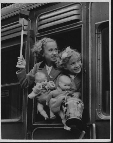 Girls at Train Window