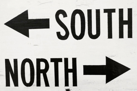 South and north arrows