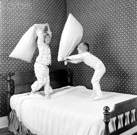 Kids Having a Pillow Fight